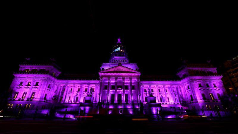 """El Congreso y la Casa de Gobierno lucieron violeta por el aniversario del colectivo """"Ni una Menos"""""""