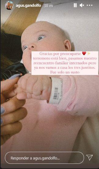 Agustina Gandolfo y Lautaro Martínez debieron internar a su hija tras un accidente en Mendoza. -