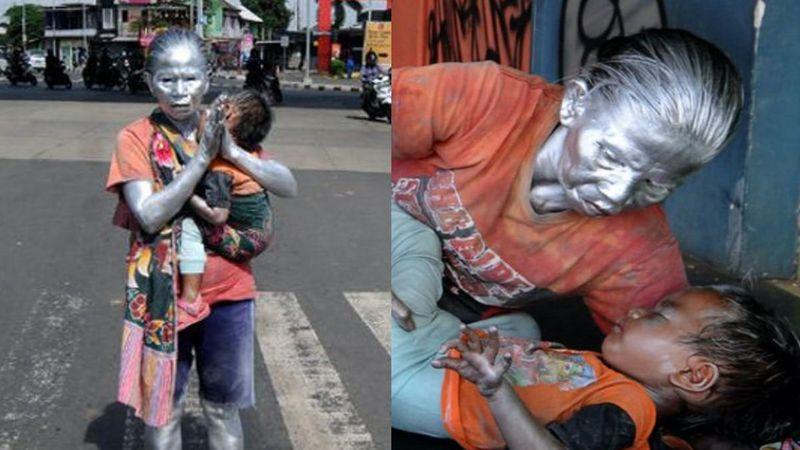 La historia de supervivencia de la abuelita que trabaja como estatua para poder alimentar a su nieto