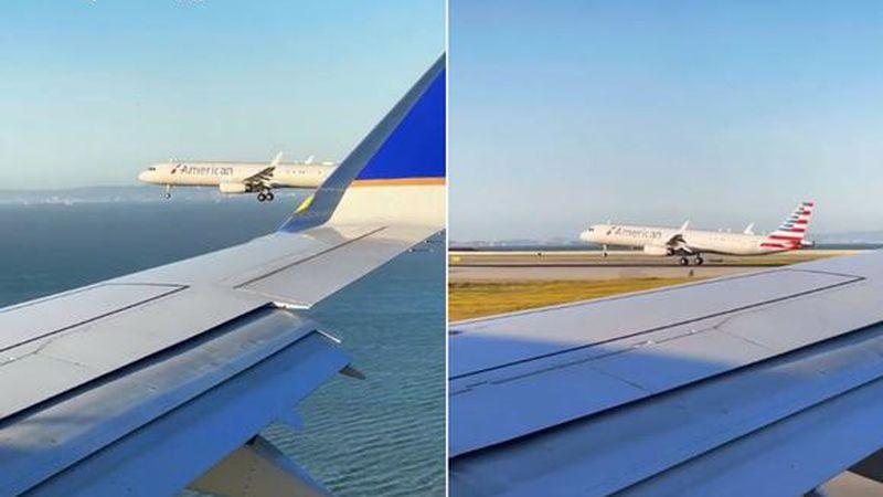 """Video: captaron una """"carrera"""" de dos aviones por aterrizar primero y la escena estalló TikTok"""