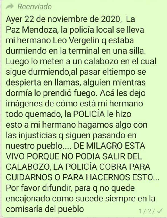 Un joven fue detenido en La Paz y desde su familia denunciaron que lo quemaron adentro del calabozo. Fotos Facebook
