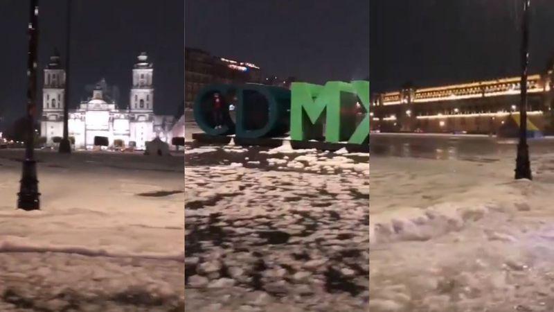 El video de un hombre atrapado adentro de un cartel durante una fuerte tormenta que enloquece a las redes