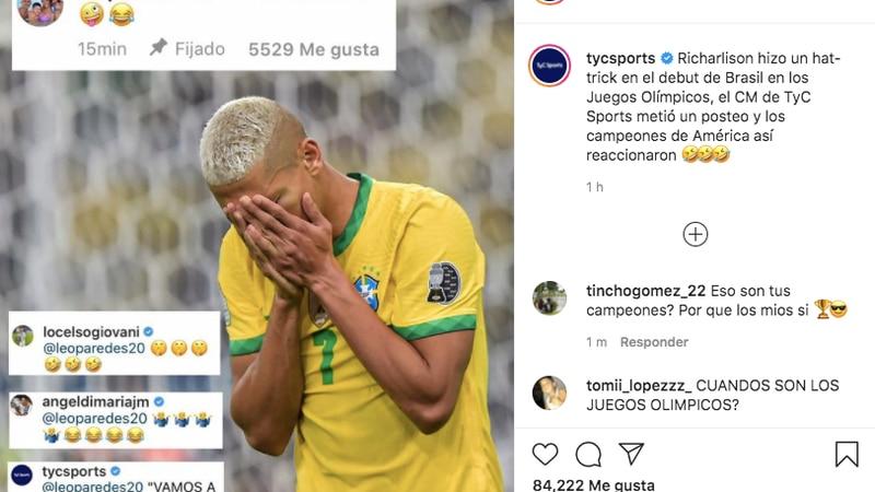 Continúan los festejos: Leandro Paredes se burló de Richarlison en las redes sociales por el triunfo de Brasil en Tokio 2020